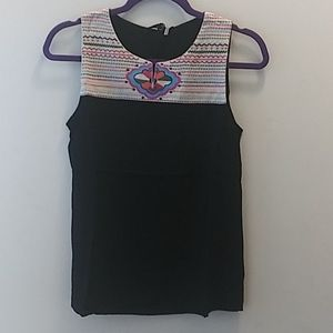 THML sleeveless embroidered top size XS